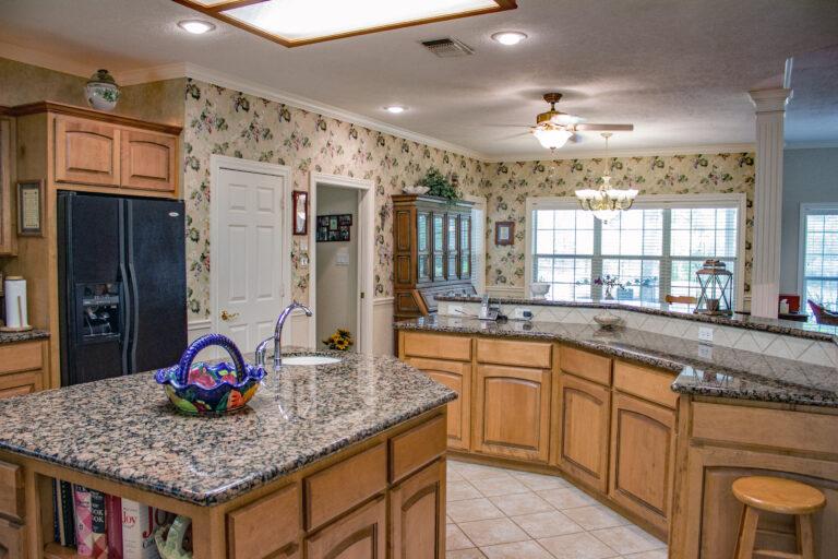 Large kitchen with floating island