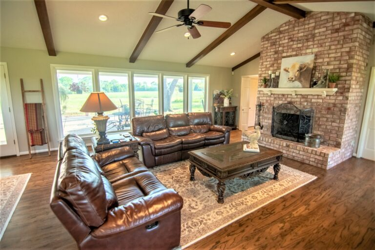 11202 Palestine Road Living Room with Brick Fireplace
