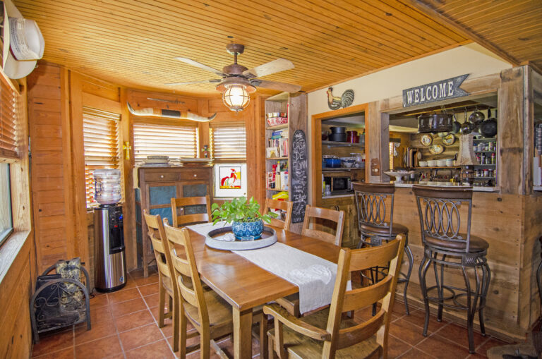 Dining area with wooden features and country feel
