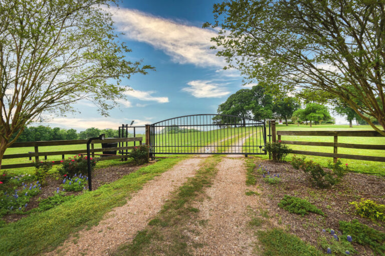 Front gate entrance with blue skies and flowers
