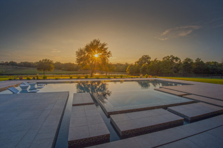 Beautiful sunset view over pool and hot tub